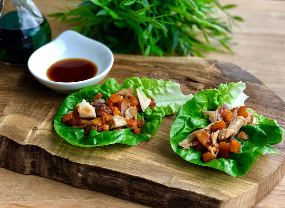 Receta: Wrap asiático de lechuga y pollo